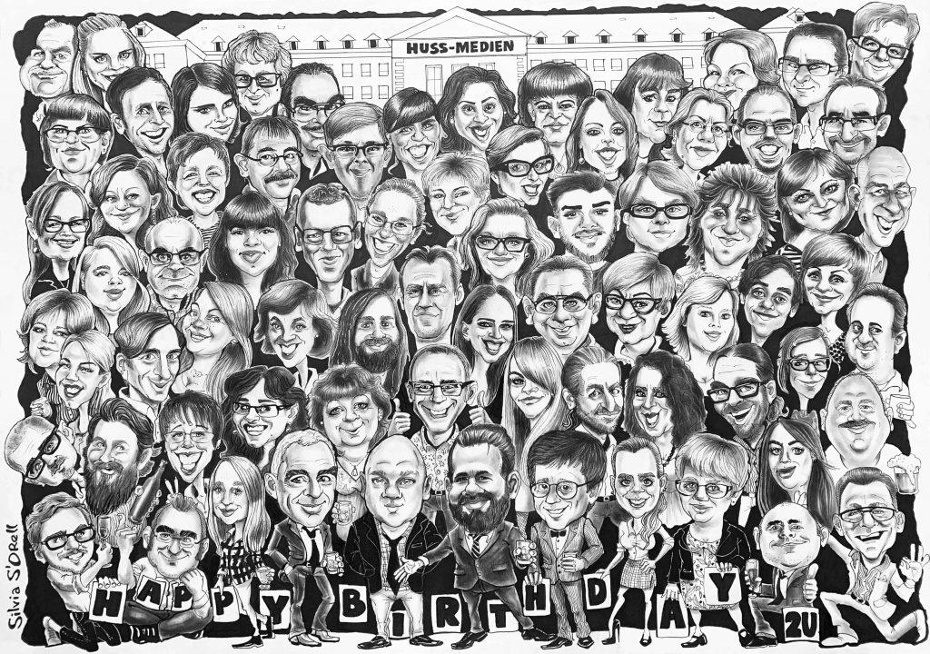 Gruppen-Karikatur, Geburtstags-Karikatur von Fotos  von Silvia S'Orell