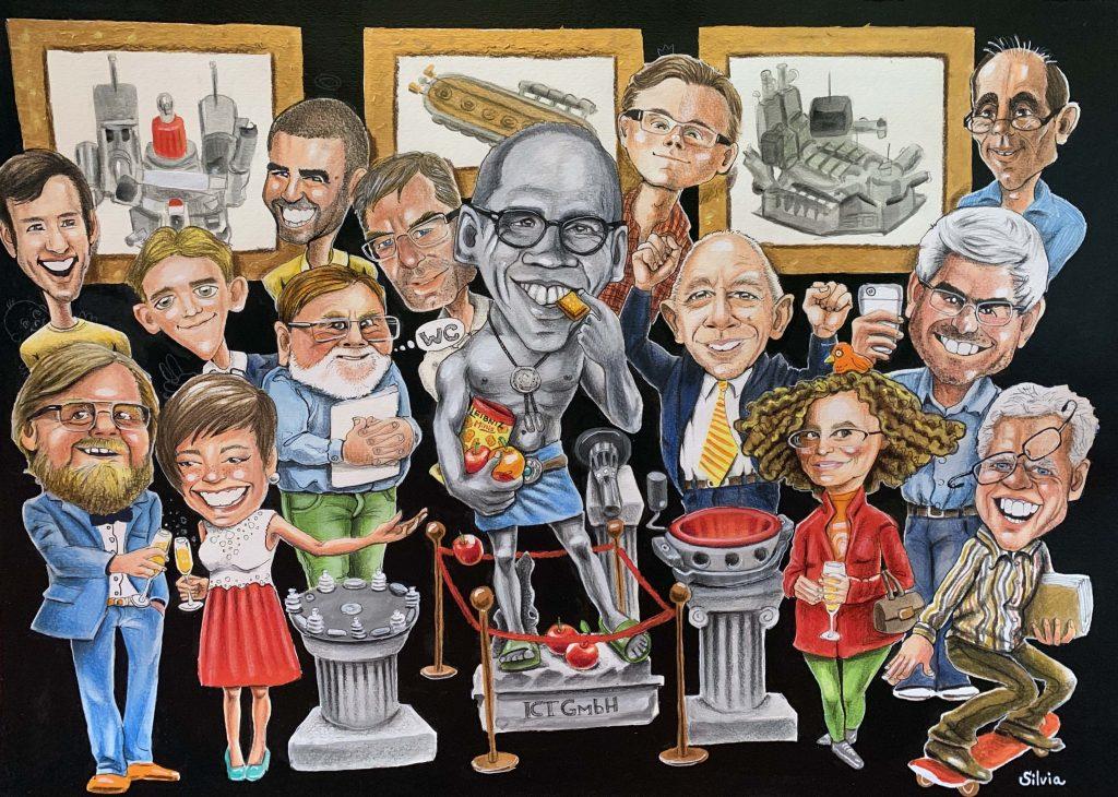 Personalisierte Karikatur, Ruhestand. Mit freundlichen Grüßen aus dem gesamten Team. Karikaturist Silvia S'Orellv