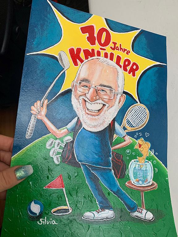 Karikatur als Geschenk zum 70 Geburtstag. Handgemalt von Silvia S'Orell
